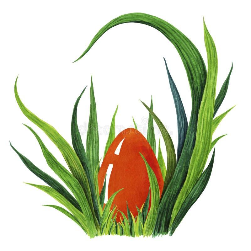 Hand målad vattenfärgillustration av färgrikt rött lägga för påskägg i ny tuffet för grönt gräs closeup royaltyfri illustrationer