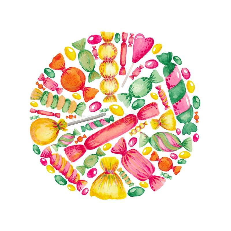Hand-målad vattenfärgillustrationuppsättning av sötsakgodisen Ljusa kulöra beståndsdelar på vit isolerad bakgrund stock illustrationer