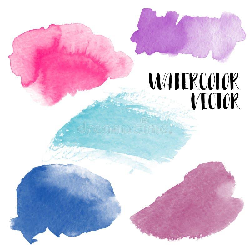 Hand målade vattenfärgwashfläckar Vektoraquarellebakgrunder royaltyfri illustrationer