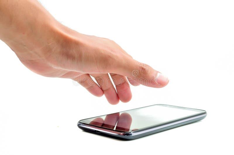 Hand möchten handphone nehmen stockfotos
