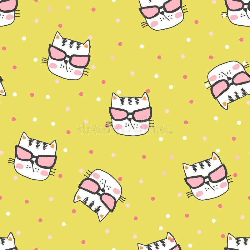 Hand m?lad s?ml?s modell med gulliga kattungar Ljusa tecknad filmkatter för vattenfärg på bakgrunden ?lskv?rd textur royaltyfri illustrationer