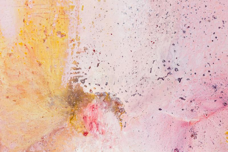 Hand made abstract painting, watercolor wash texture, artistic background in pink, orange and beige colors. stock image