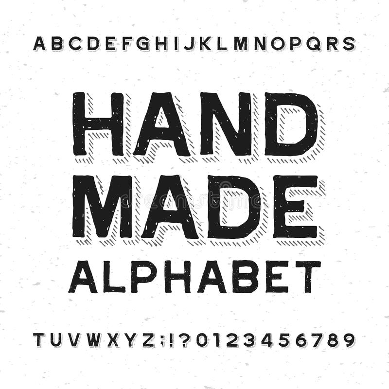 Hand made alphabet font. Distressed vintage letters and numbers on a grunge background. Vector typeface for your design royalty free illustration