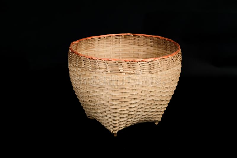 Hand made basket from bamboo wood stock photos