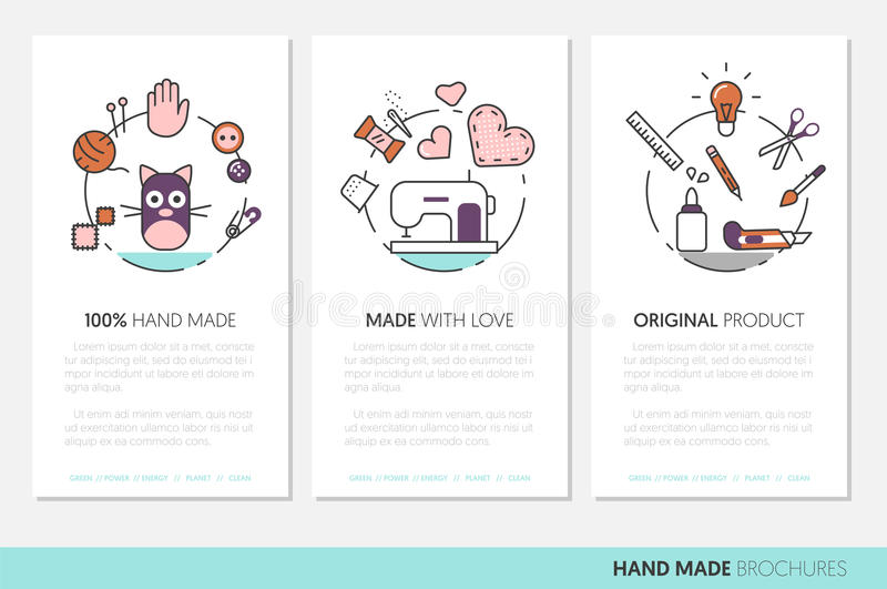Hand Made Business Brochure. Sewing Crafting Linear Thin Line Icons with Tools and Accessories stock illustration
