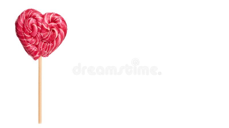Hand made candy heart shape isolated on white background. copy space, template.  royalty free stock image