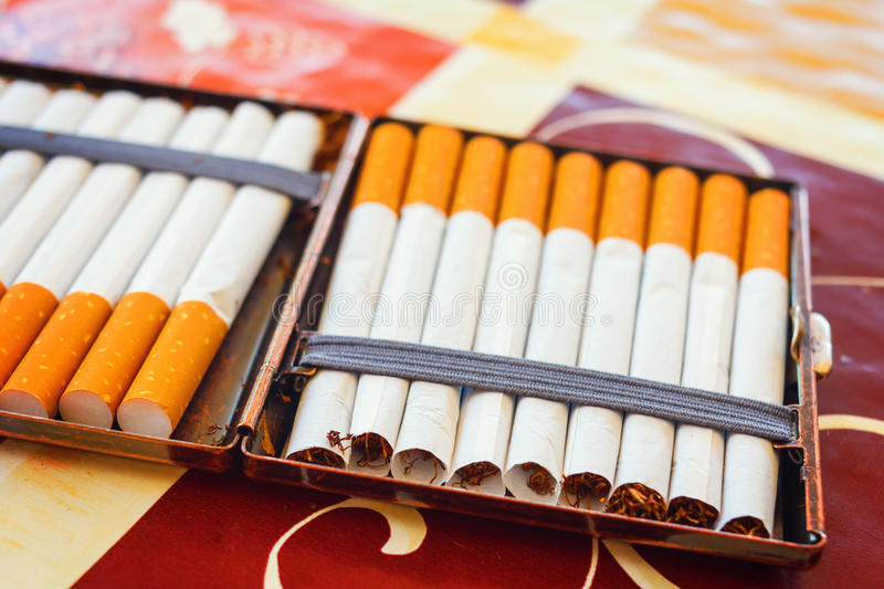 Hand made cigarettes. Close up stock photography
