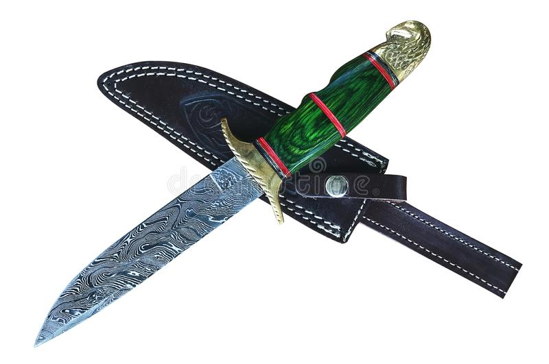 Hand Made Damascus hunting knife and sheath, isolated stock photography