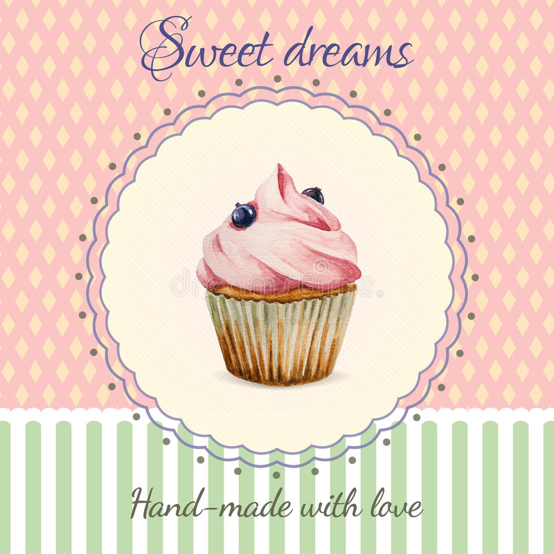 Hand-made Desserts Flyer Template With Watercolor Stock