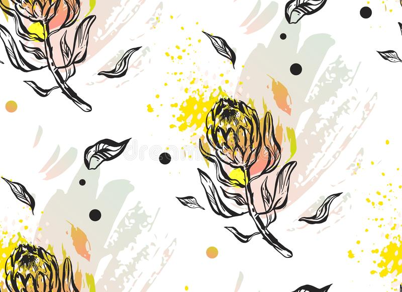 Hand made graphic abstract floral seamless pattern with composition of protea flowers in pastel colors on white. Background.Decoration for fashion print,fabric stock illustration