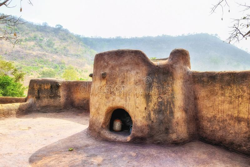 Kassena village, Ghana. Hand made houses in Ghana, Africa stock photos