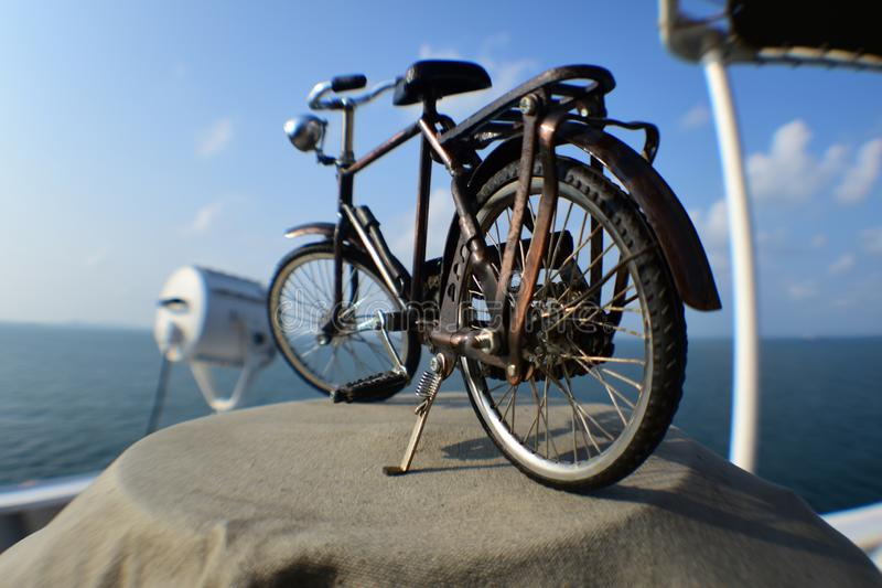 Vintage bicycle, as seen from behind royalty free stock photography