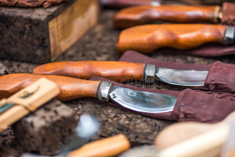Hand made knives royalty free stock photography