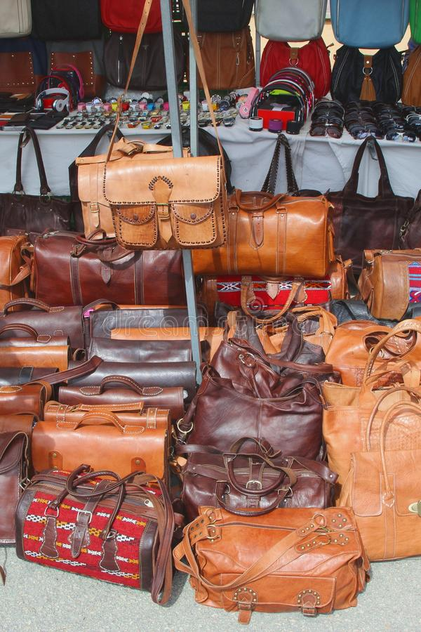 Hand made leather handbags market Sineu, Majorca, Spain. Hand made leather handbags for sale at the weekly market in Sineu at the isle of Mallorca, Spain royalty free stock images