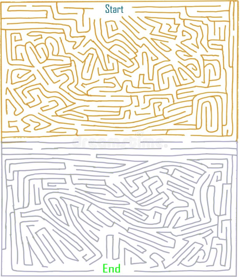 Hand made maze number thirteen, difficult level, two tone color, Playable maze game royalty free illustration