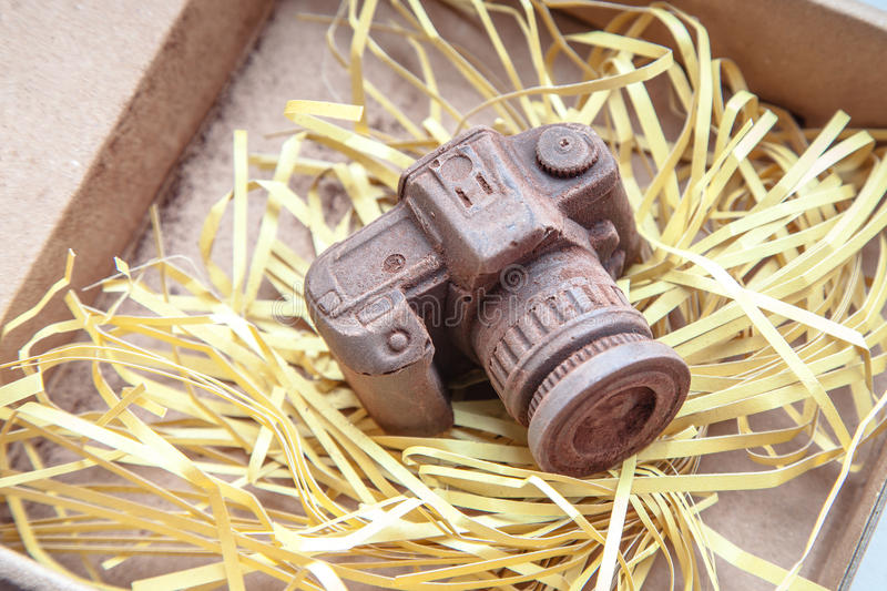 Hand made noname nobrand chocolate camera. Edible noname nobrand chocolate camera present for photographer royalty free stock photography