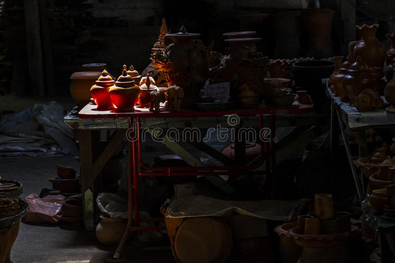 Hand made pottery in light royalty free stock photos