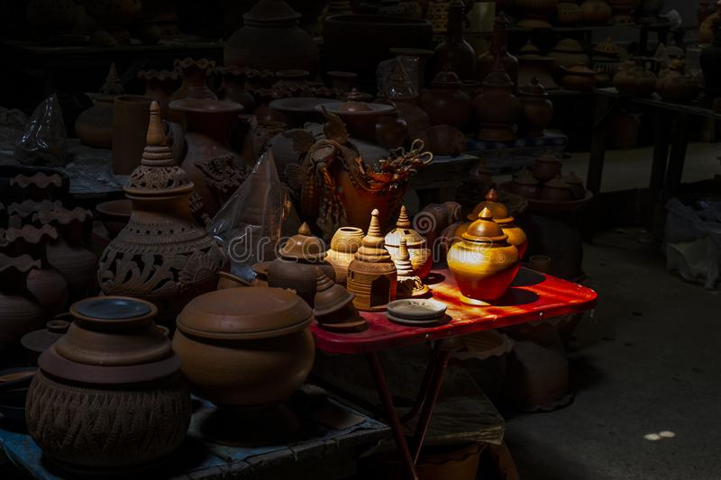 Hand made pottery in light royalty free stock images