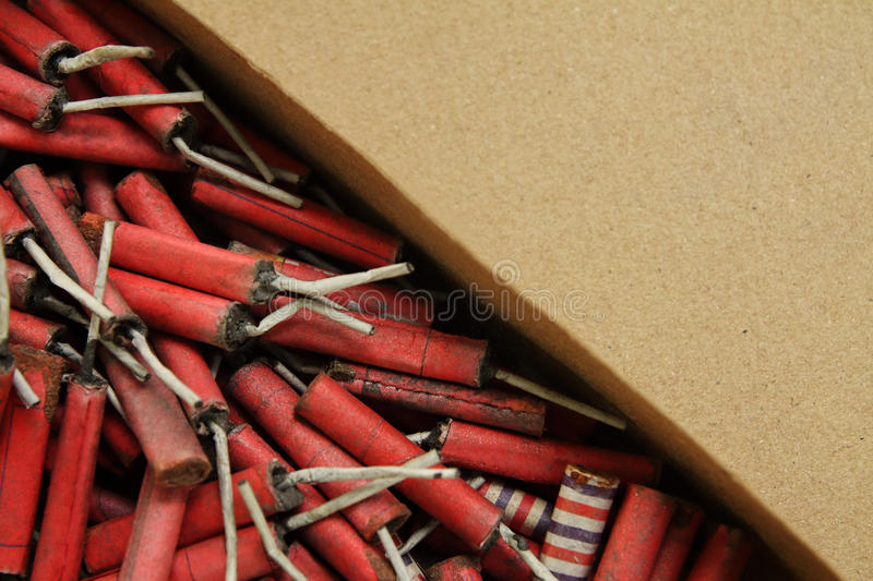 Hand Made Red Firecrackers stock images