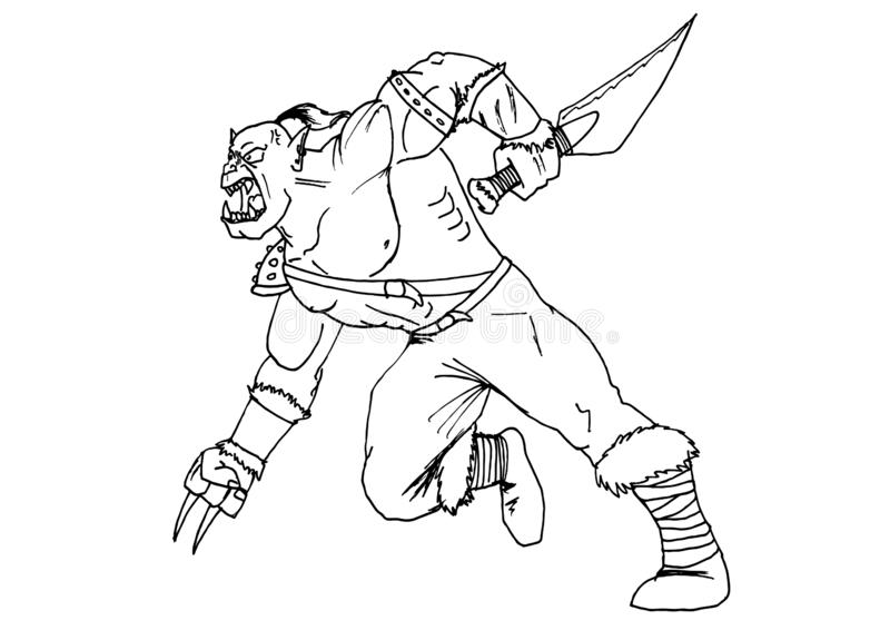 Hand-made sketch of a ogre to run in battle in black and white to be colored royalty free illustration