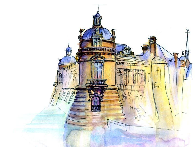Hand made sketch of old castle royalty free illustration
