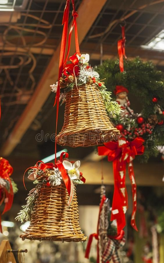 Bright Christmas wooden bells stock images