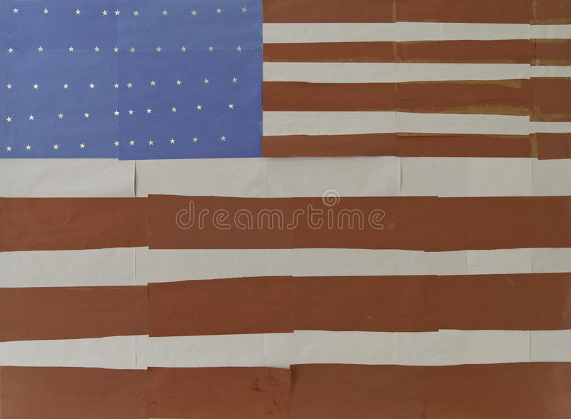 Hand Made US Flag. By paper stock images