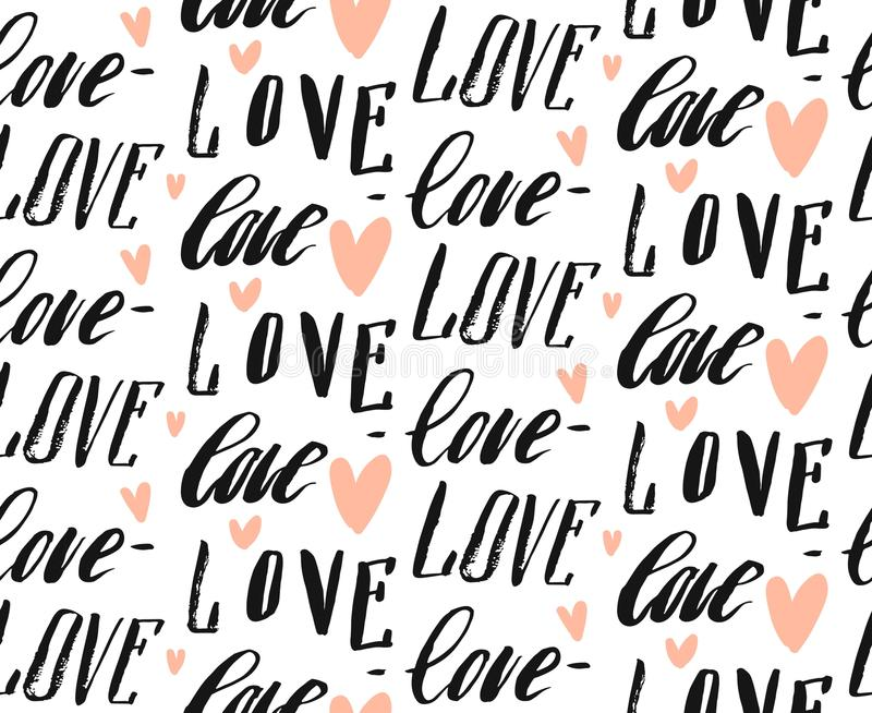 Hand made vector abstract calligraphy seamless pattern with differend handwritten love words and hearts on vector illustration