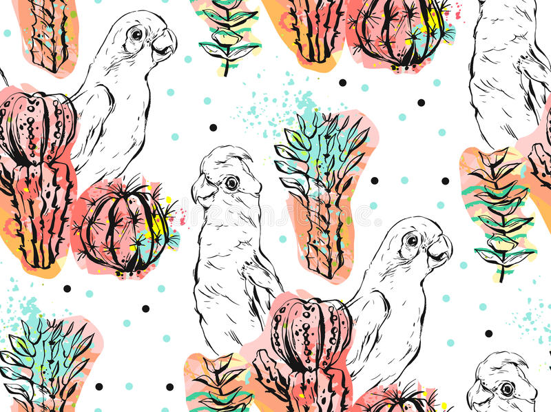 Hand made vector abstract collage seamless pattern with tropical parrots,cactus plants and succulent flowers isolated on. White background.Wedding,birthday royalty free illustration