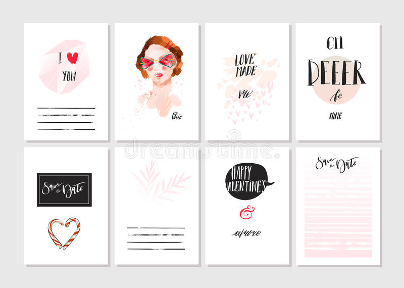 Hand made vector abstract graphic Save the Date unusual cards set collection in pink, black and white colors. Saint stock illustration