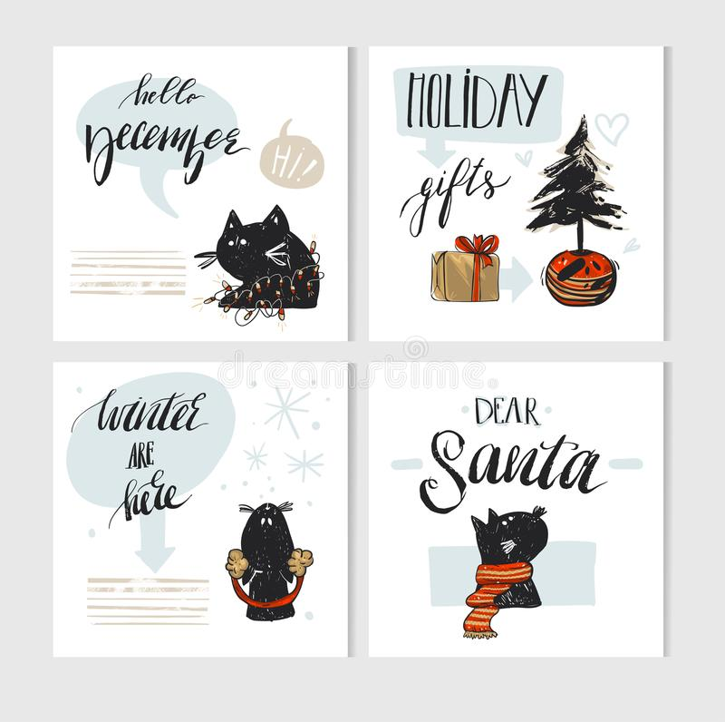 Hand made vector abstract Merry Christmas greeting card set with cute xmas black cats character in winter clothing and vector illustration