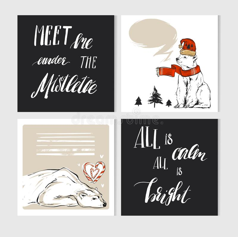 Hand made vector abstract Merry Christmas greeting cards set with cute xmas polar bear characters in winter clothing and stock illustration