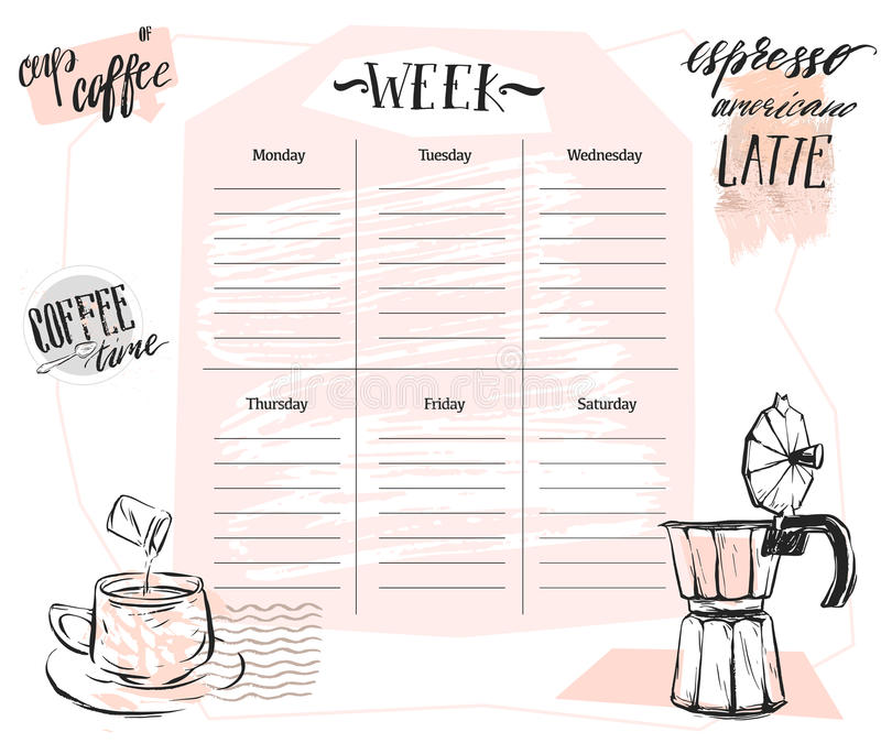 Hand made vector abstract Scandinavian Weekly planner template with graphic coffee illustration in pastel colors royalty free illustration