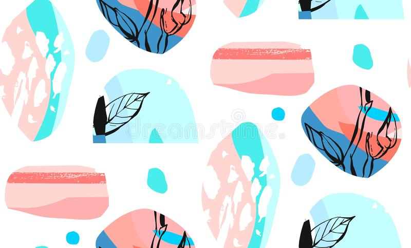 Hand made vector abstract textured trendy creative collage seamless pattern with floral motif isolated on white vector illustration