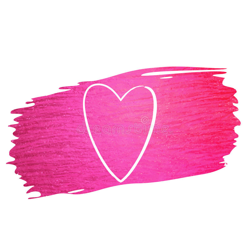 Hand made vector pink paint stroke glitter texture with heart. Pink paint stroke with white heart and place for text. Hand made abstract glitter texture. Design stock illustration