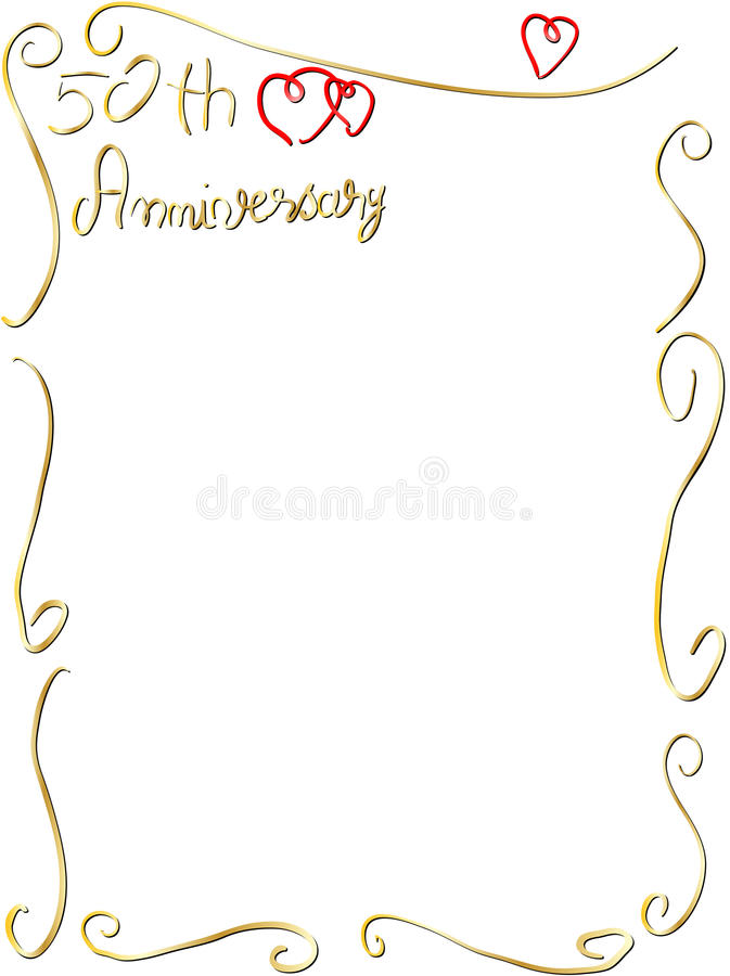 Hand made Wedding anniversary border invitation royalty free illustration