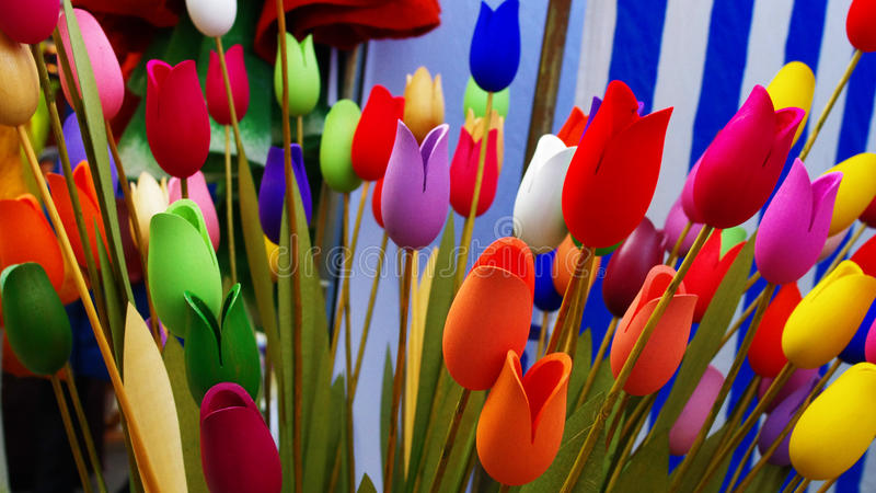 Hand made wood tulips stock images