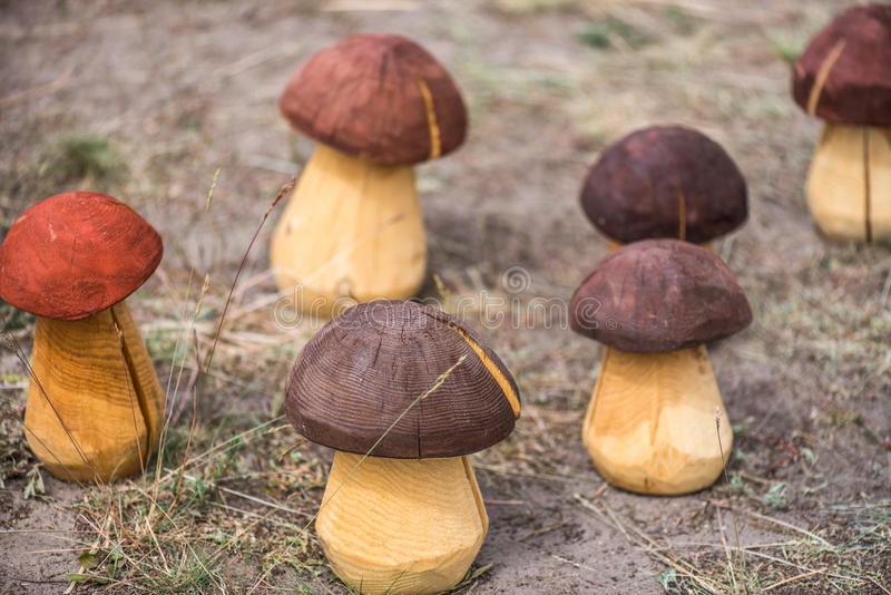 Hand made wooden mushrooms royalty free stock photo