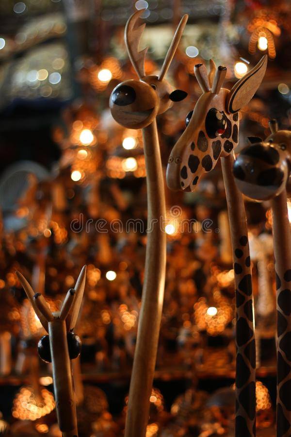 Hand made wooden vintage lamp giraffe object royalty free stock photo