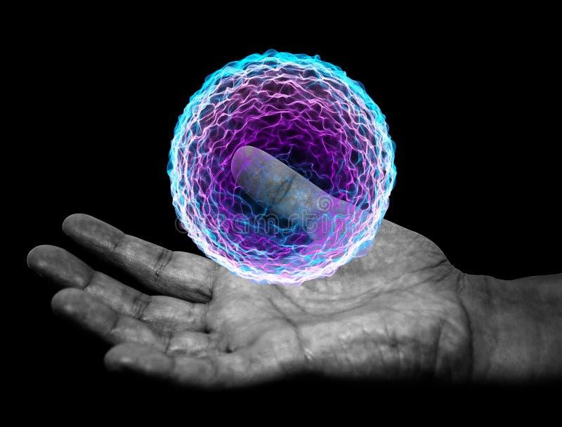 Hand, magische bal, betoveringheks vector illustratie