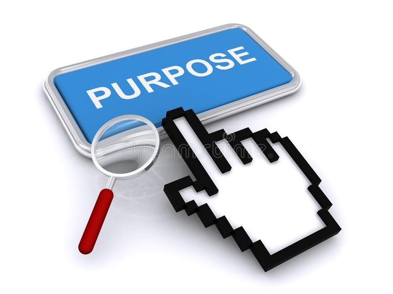 Purpose Button. A hand and magnifying glass pointing to a purpose button stock photo