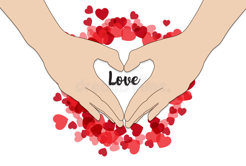 Hand make heart shape Happy Valentine`s Day. On red heart surrounding on the hand vector illustration