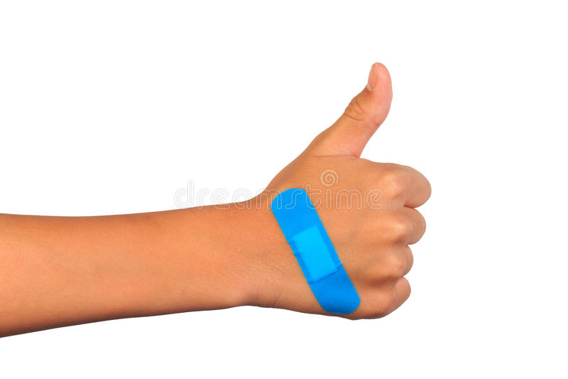 Hand making sign putting adhesive bandage or plaster. band-aid on a cut. Isolated on white stock photography