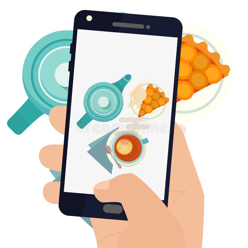 Hand making a smartphone photo of breakfast vector illustration