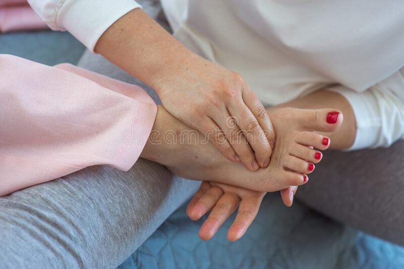 Hand making thai feet massage royalty free stock photos
