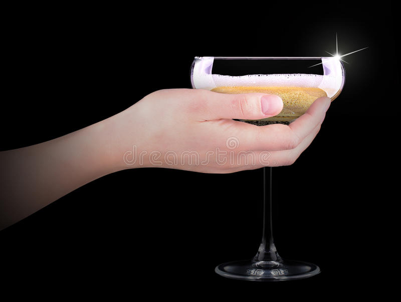 Download Hand Making Toast With Champagne Glass Stock Photo - Image of background, dark: 35839906
