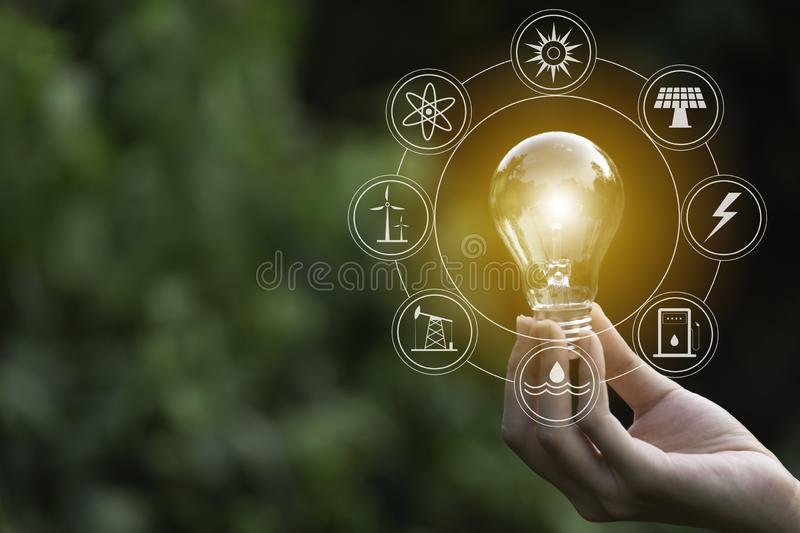 Hand of male holding a light bulb and copy space. Ideas and creative concept stock images