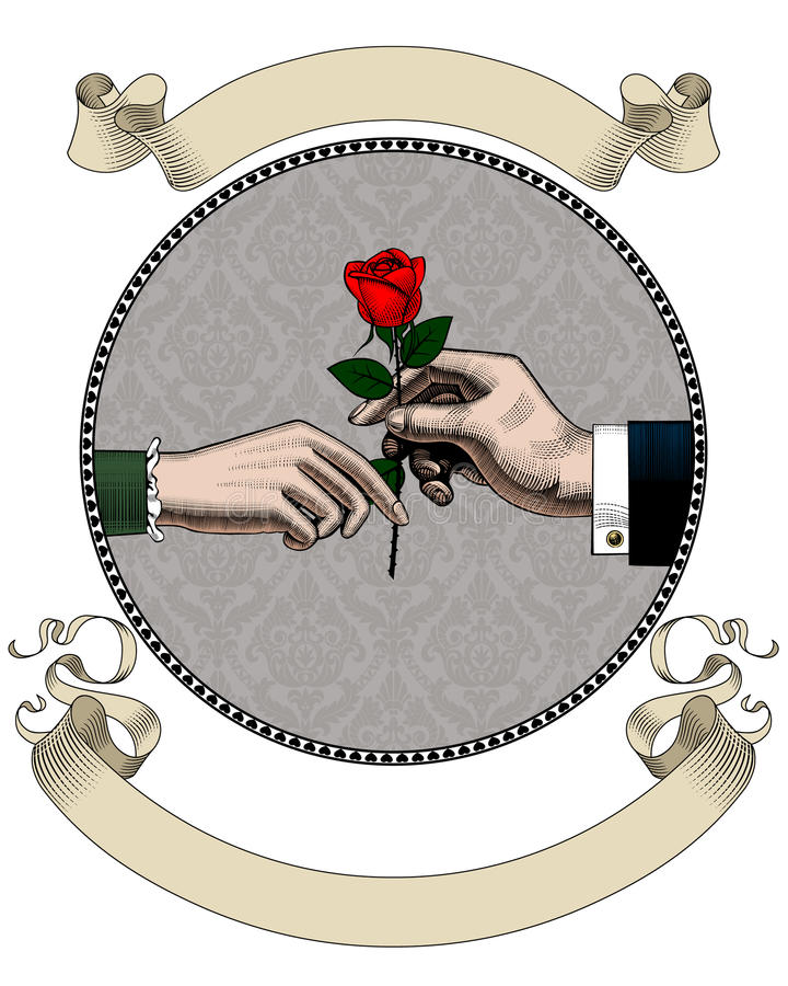 Hand of man give a red rose to woman and old ribbons royalty free illustration