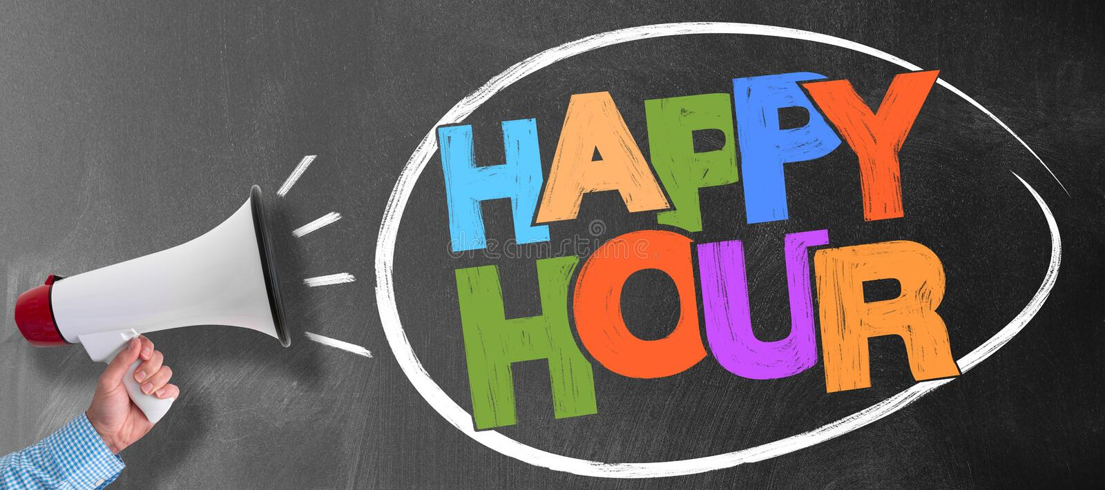 Megaphone or bullhorn against blackboard with words HAPPY HOUR. Hand of man holding megaphone or bullhorn against blackboard with colorful words HAPPY HOUR stock images
