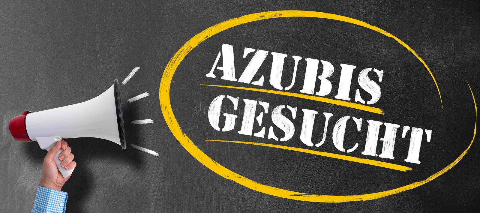 Hand of man holding megaphone or bullhorn against blackboard with text AZUBIS GESUCHT stock photo